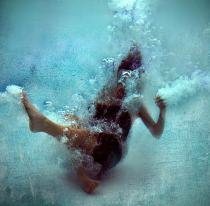 submerged woman