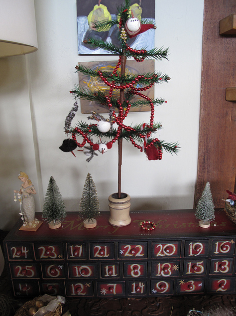 Advent calendar (with candies and tiny ornaments for that tree in the drawers).